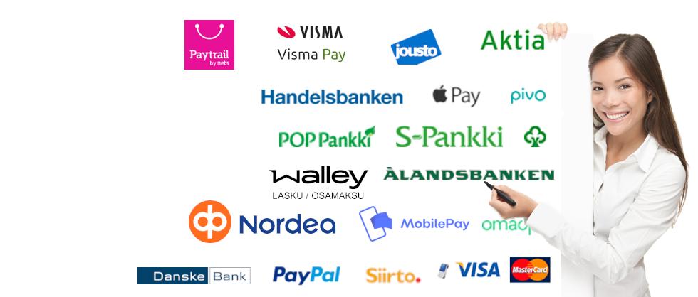 Monipuoliset maksu ja toimitustavat asennettuna omaan verkkokauppaan
